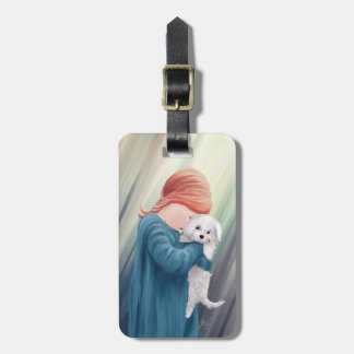 Cute Girl with Dog Bag Tag