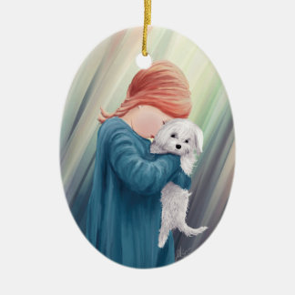 Cute Girl with Dog Ceramic Ornament