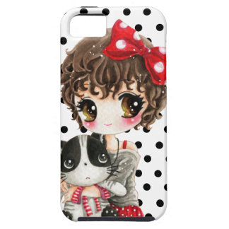 Cute girl with kawaii cat on black polka dots iPhone 5 case