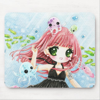 Cute girl with kawaii octopus and fish mouse pad