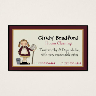 Cute Girl with Mop Maid Business Card