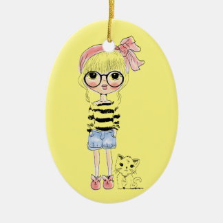 Cute Girl with Round Glasses and her Sweet Cat Ceramic Ornament