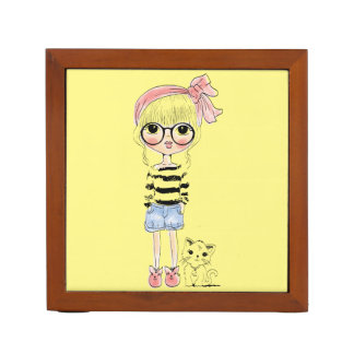 Cute Girl with Round Glasses and her Sweet Cat Desk Organizer