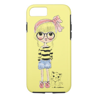 Cute Girl with Round Glasses and her Sweet Cat iPhone 8/7 Case
