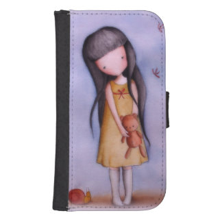 Cute Girl with Teddy Bear Samsung S4 Wallet Case