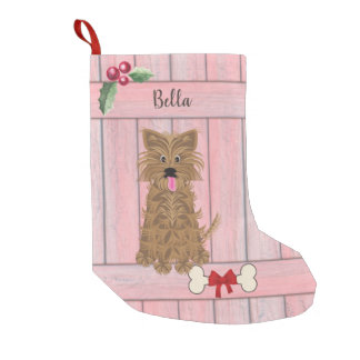 Cute Girl Yorkie Pink Wooden Fence Monogram Small Christmas Stocking