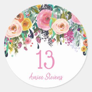 Cute Girls 13th Birthday Party Pink Flower Peach Classic Round Sticker