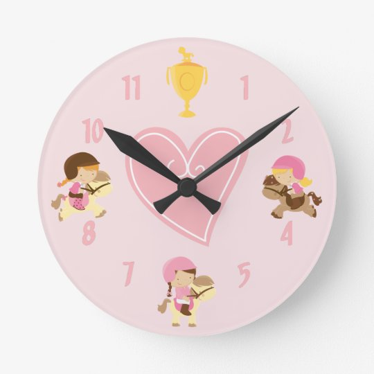 Cute Girls and Ponies with English Tack Pink Horse Wall Clock