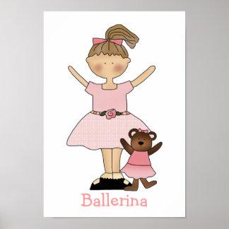 Cute Girl's Ballerina Print