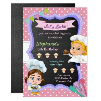 Cute Girls Chef Baking Birthday Party Invitation