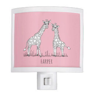 Cute Girl's Doodle Giraffe Safari Baby Nursery Night Lite