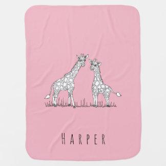 Cute Girl's Doodle Giraffe Safari Pop & Name Baby Blanket