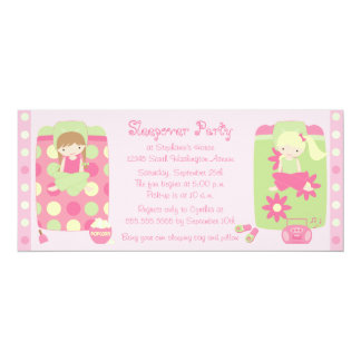 Cute girl's flower dots sleepover party invitation