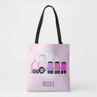 Cute Girl's Locomotive Train with Name Tote Bag