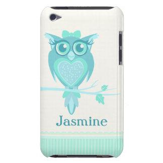 Cute girls owl aqua mint green ipod touch case