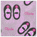 Cute Girls Polka Dot Shoes Theme Personalized Fabric