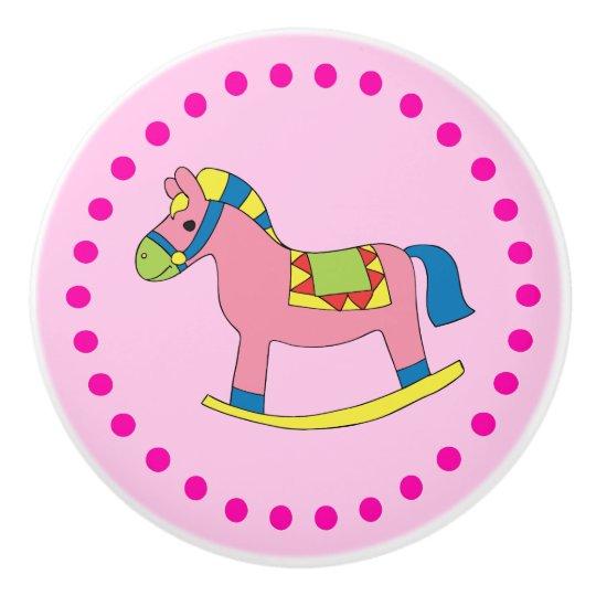 Cute Girl's Polka Dots and Rocking Horse Ceramic Knob