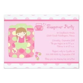 Cute girl's polkadots sleepover party invitation