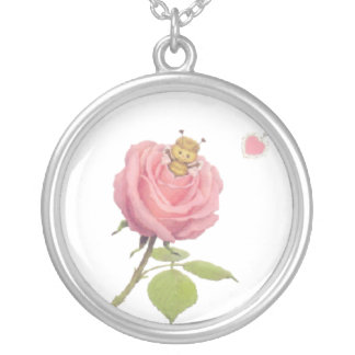 Cute Girls Pretty Pink Rose Flower And Bumble Bee Silver Plated Necklace