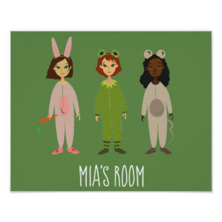 Cute girl's room pyjama party theme poster