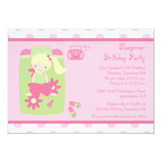 "Cute girl's sleepover birthday party invitation 5"" x 7"" invitation card"
