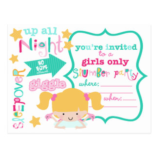 Cute Girls Sleepover Party Invitation Postcard
