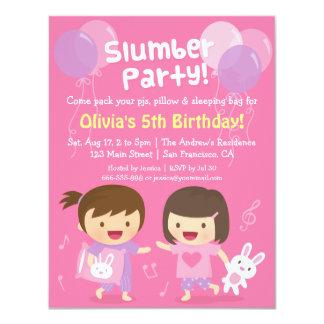 "Cute Girls Sleepover Slumber Birthday Party 4.25"" X 5.5"" Invitation Card"