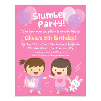 Cute Girls Sleepover Slumber Birthday Party 4.25x5.5 Paper Invitation Card