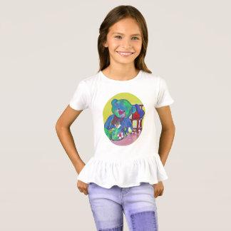 Cute Girl's teddy bear abd heart ruffled t-shirt
