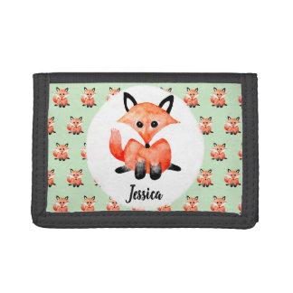 Cute Girl's Watecolor Fox Children's First Wallet