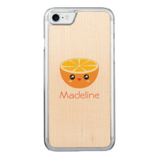 Cute Girly Adorable Happy Sweet Orange Cartoon Carved iPhone 8/7 Case