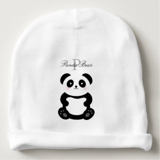 Cute Girly Baby Girl Panda Bear Monogram Baby Beanie