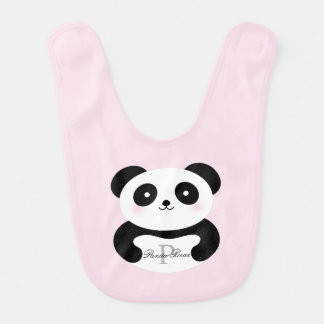 Cute Girly Baby Girl Panda Bear Whimsical Monogram Bib