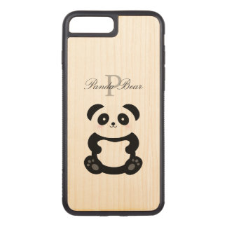 Cute Girly Baby Panda Bear Monogram Carved iPhone 8 Plus/7 Plus Case