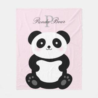 Cute Girly Baby Panda Bear Monogram Fleece Blanket