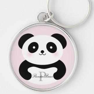 Cute Girly Baby Panda Bear Monogram Keychain