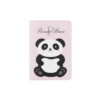 Cute Girly Baby Panda Bear Monogram Passport Holder