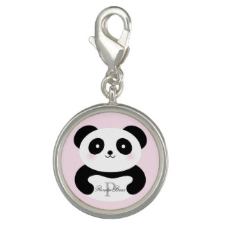 Cute Girly Baby Panda Bear Monogram Photo Charm