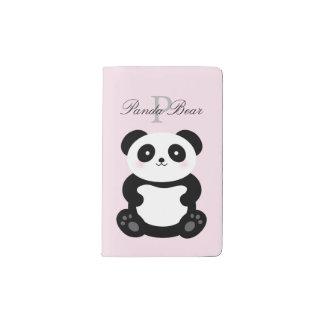 Cute Girly Baby Panda Bear Monogram Pocket Moleskine Notebook