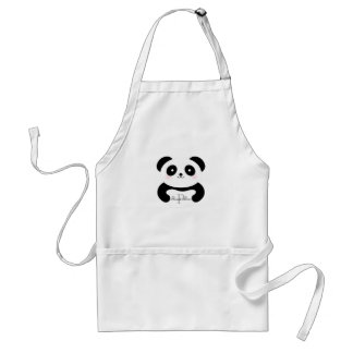 Cute Girly Baby Panda Bear Monogram Standard Apron