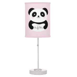 Cute Girly Baby Panda Bear Monogram Table Lamp
