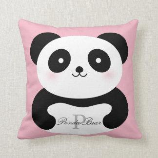 Cute Girly Baby Panda Bear Monogram Throw Pillow