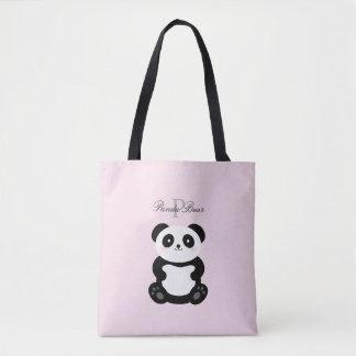 Cute Girly Baby Panda Bear Monogram Tote Bag