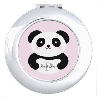 Cute Girly Baby Panda Bear Monogram Travel Mirrors