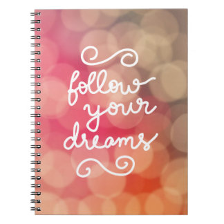 Cute Girly Bokeh Follow Your Dreams Typography Spiral Note Book
