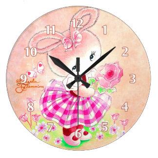 Cute Girly Bunny Large Clock