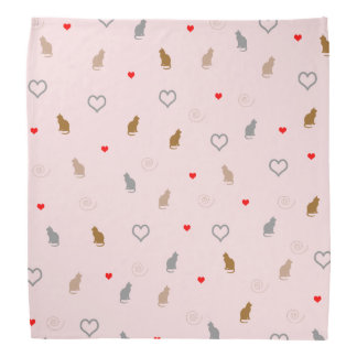 Cute girly cat and heart pattern pastel pink bandana