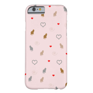 Cute girly cat and heart pattern pastel pink barely there iPhone 6 case
