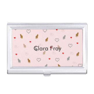 Cute girly cat and heart pattern pastel pink business card holder