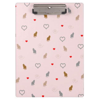 Cute girly cat and heart pattern pastel pink clipboard